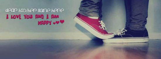 I love you and I am happy Facebook Cover Photo With Name