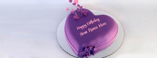 Indigo Heart Birthday Cake Facebook Cover Photo With Name