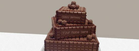 Layered Chocolate Birthdat Cake Facebook Cover Photo With Name