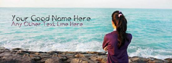 Lonely Girl and Sea View Facebook Cover Photo With Name