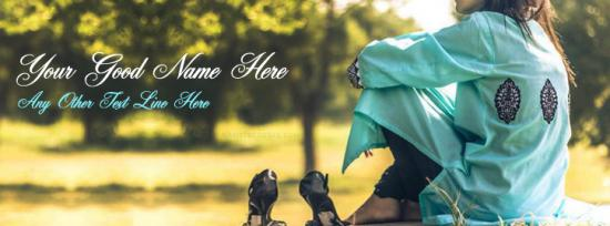 Lonely girl waiting Facebook Cover Photo With Name