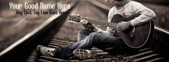 Lonely Guitar Boy Facebook Cover Photo With Name