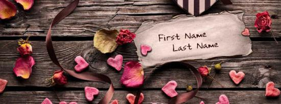 Love Of Hearts Facebook Cover Photo With Name