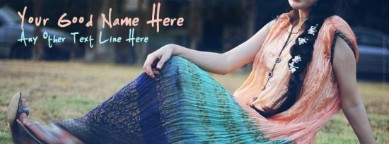 Lovely Dress Pretty Lady Facebook Cover Photo With Name