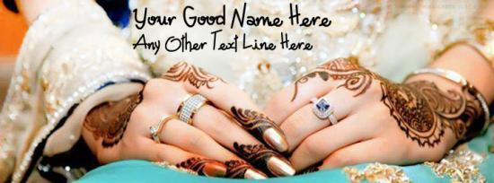 Lovely Wedding Hands Facebook Cover Photo With Name