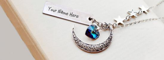 Moon Heart Necklace Facebook Cover Photo With Name