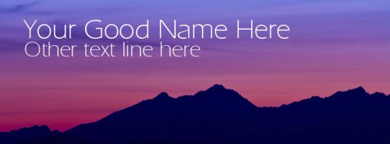 Mountain Silhouette Facebook Cover Photo With Name