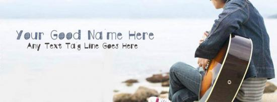 Playing guitar at beach Facebook Cover Photo With Name