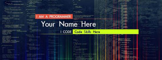 Programmer Coder Facebook Cover Photo With Name