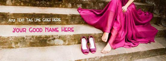Purple dress heels girl Facebook Cover Photo With Name