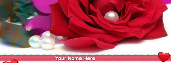 Red Rose Facebook Cover Photo With Name