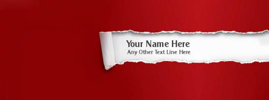 Red Torn Paper Facebook Cover Photo With Name