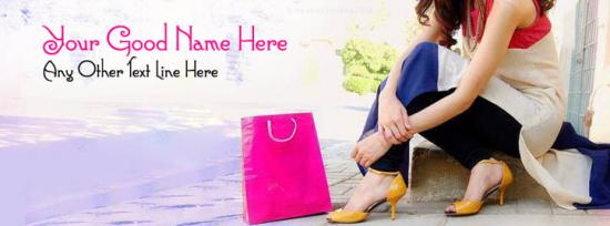 Shopping Girl Facebook Cover Photo With Name