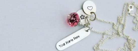 Silver Charming Necklace Facebook Cover Photo With Name
