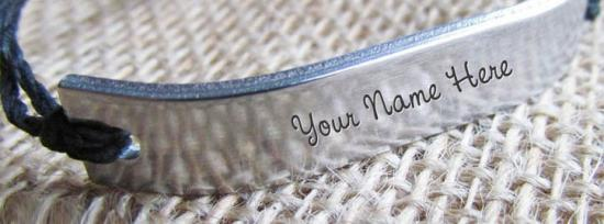 Silver Personalized Bracelet Facebook Cover Photo With Name