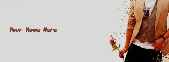Stylish Boy with Rose in hand Facebook Cover Photo With Name
