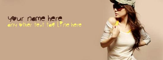 Stylish Dashing Girl Facebook Cover Photo With Name