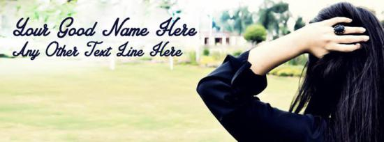 Stylish Girl in Black Facebook Cover Photo With Name