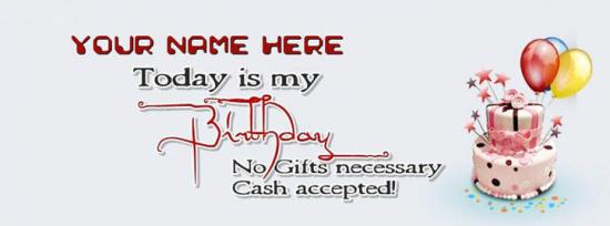 Today is my Birthday Facebook Cover Photo With Name
