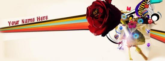 Vector Rose Facebook Cover Photo With Name