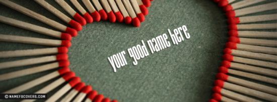 Matchsticks Heart Facebook Cover Photo With Name