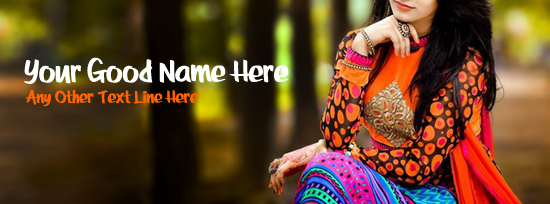 Pretty Colorful Dress Facebook Cover Photo With Name
