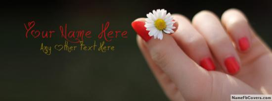 Red Nails Girly Hand Facebook Cover Photo With Name