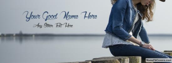 Stylish Girl Waiting Facebook Cover Photo With Name