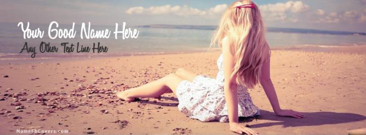 Alone Beach Girl Facebook Cover With Name