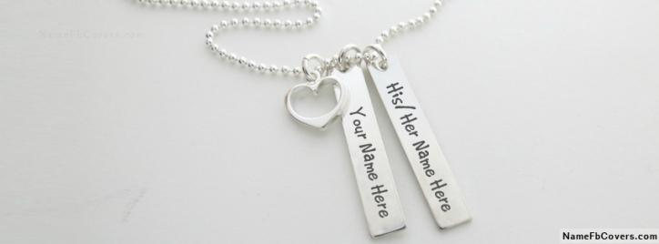 Amazing Silver Heart Necklace For Couple Facebook Cover With Name