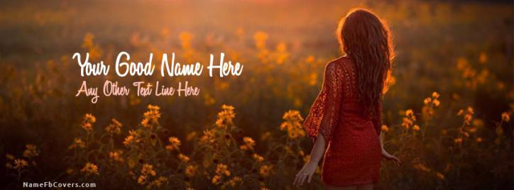 Beatiful Lady Facebook Cover With Name