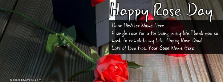 Best Rose Day Wish Facebook Cover With Name