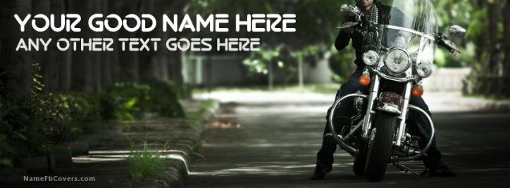 Bike Guy Facebook Cover With Name