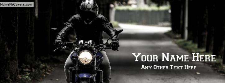 Bike rider Guy Facebook Cover With Name