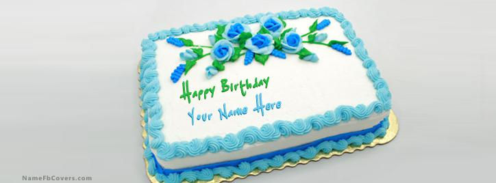Birthday Green Blue Cake FB Cover With Name