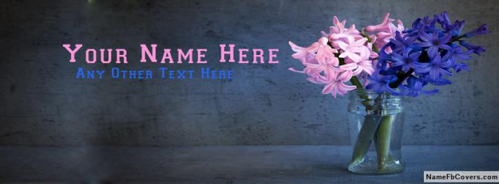 Blue And Pink Flower Guldan FB Name Cover - Flowers Facebook Covers