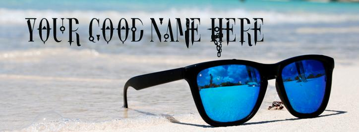 Blue Sun Glasses FB Name Cover - Glasses Facebook Covers