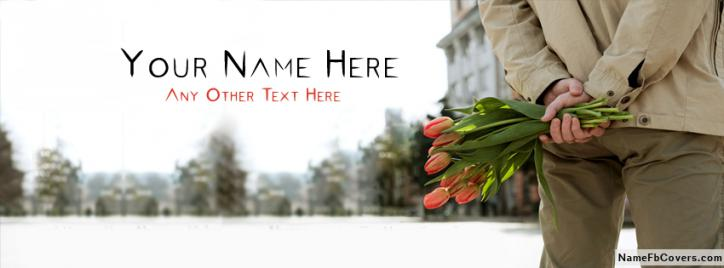 Boy Holding Flowers Facebook Cover With Name