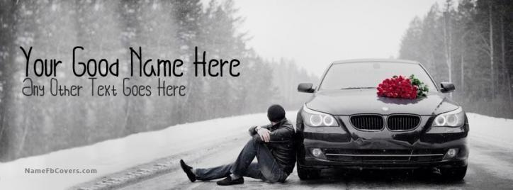 Boy Waiting With Car Facebook Cover With Name
