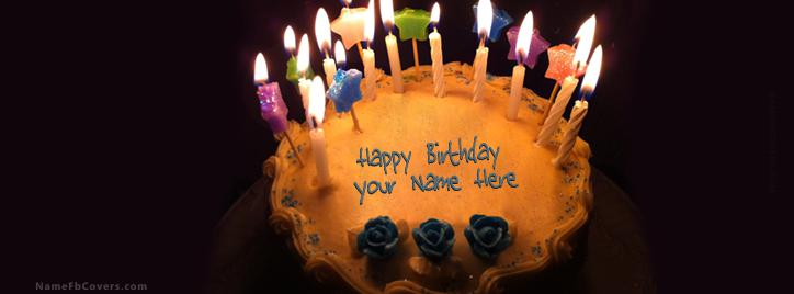 Candels Birthday Cake Facebook Cover With Name