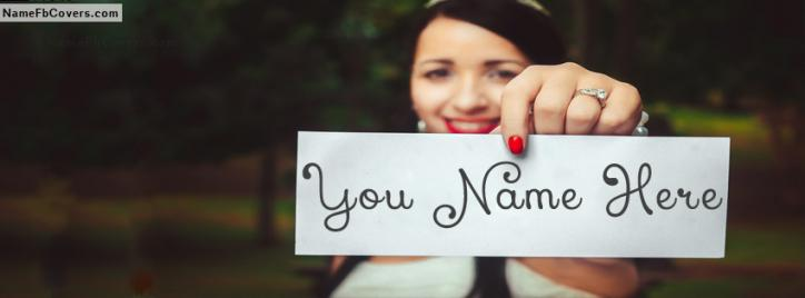 Cool Wedding Bride Facebook Cover With Name