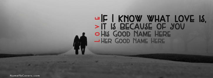 Couple Walking Facebook Cover With Name
