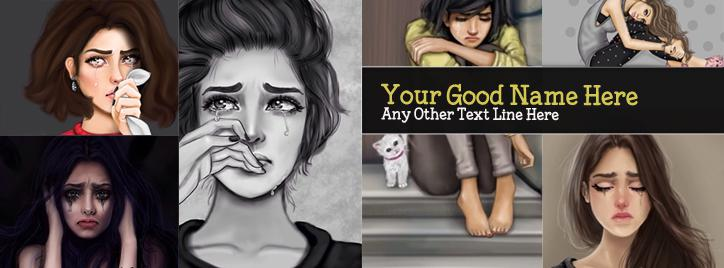 Crying Girls Collage Facebook Cover With Name