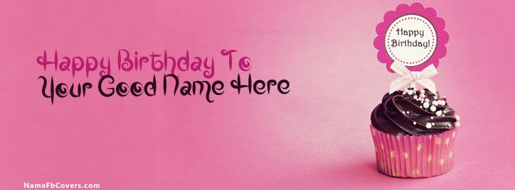 Cupcake Birthday Facebook Cover With Name
