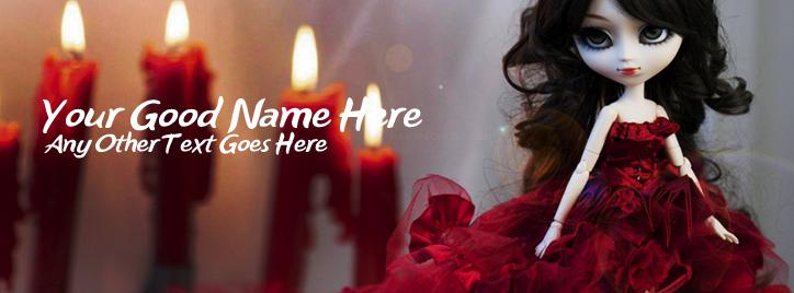 Cute Doll in Red Facebook Cover With Name
