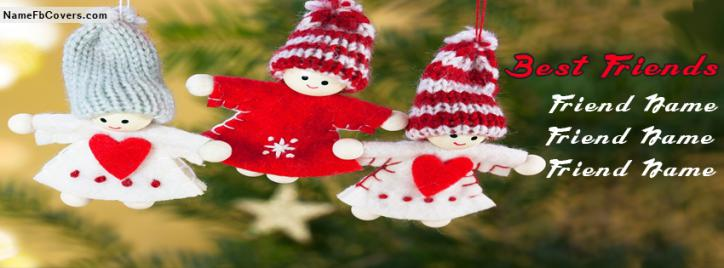 Cute Dolls Best Friends Facebook Cover With Name