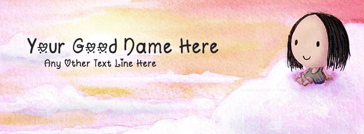 Cute Sky Girl Facebook Cover With Name
