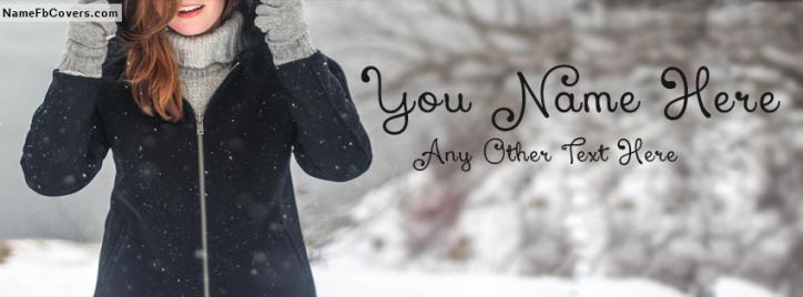 Cute Smiling Girl In Winter Facebook Cover With Name