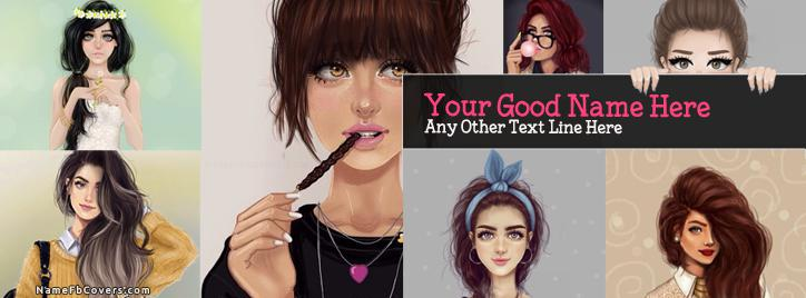 Drawing Girls Collage Facebook Cover With Name