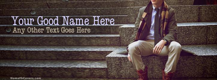Fashion Dude Sitting Facebook Cover With Name